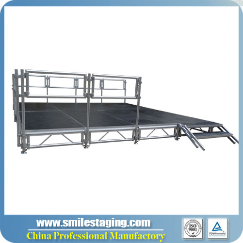 16ft x 16ft Aluminum Stage Systems With Guard Rails