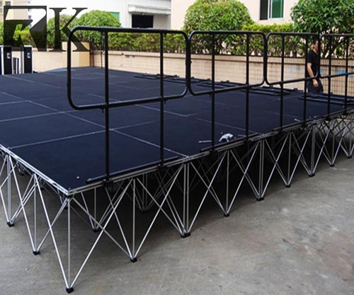 Portable Stage with Guard Rails for Performance