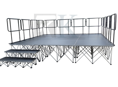 portable stage with rail